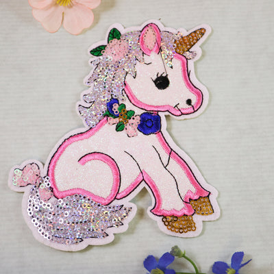 Big unicorn sparkle sequin iron on patch