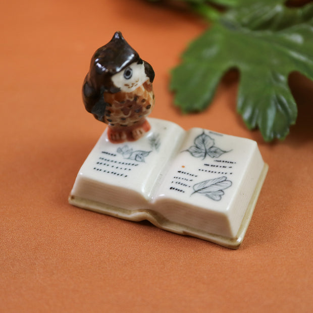 Miniature book owl figurine