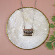 Love letter locket silver necklace