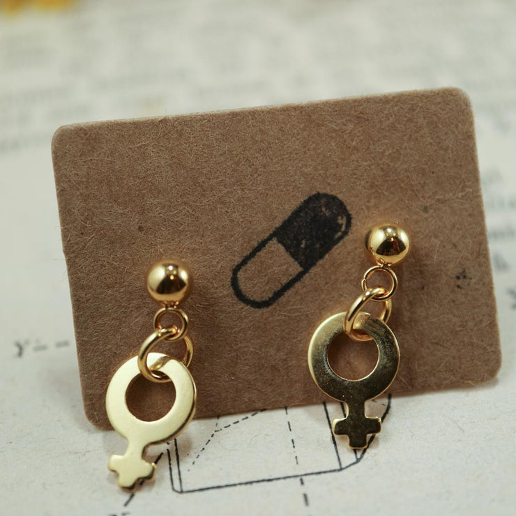 Golden venus dangle stud earrings