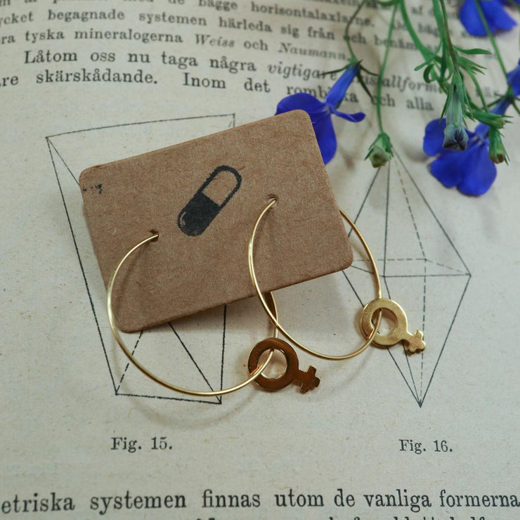 Golden venus hoop earrings