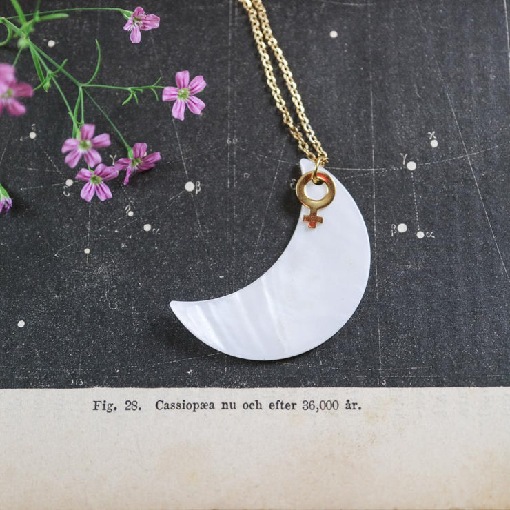 Golden venus and big moon necklace