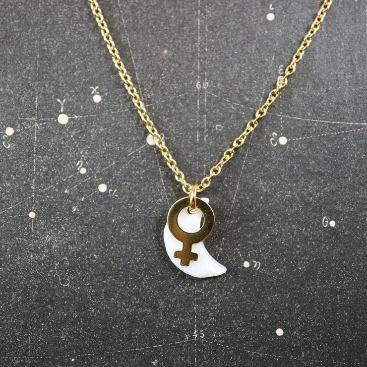 Golden venus and small moon necklace