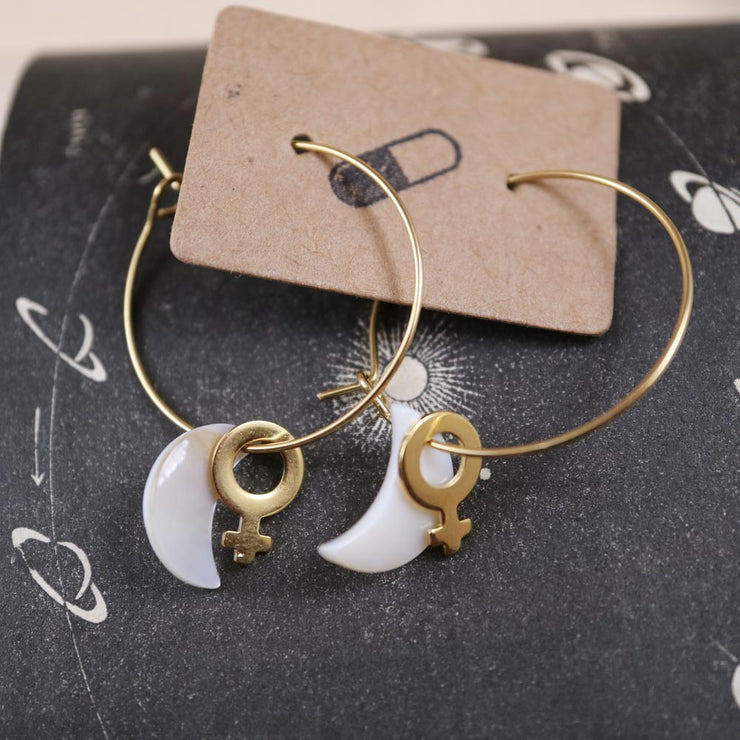Golden venus and small moon hoop earrings