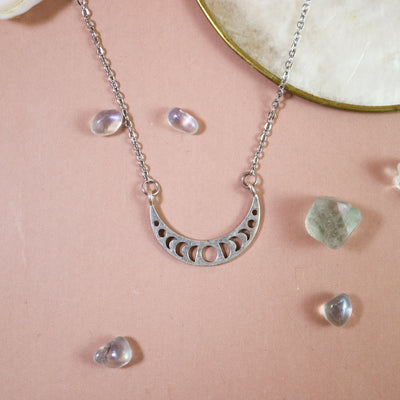Small silver moon phase cresent necklace