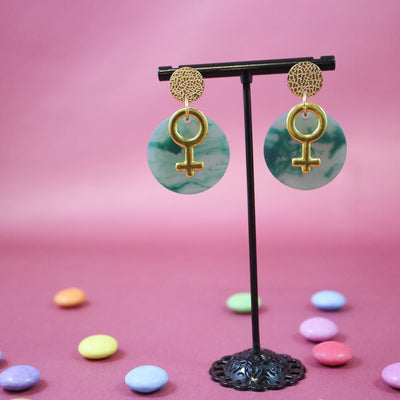 Soft pastel green venus earrings