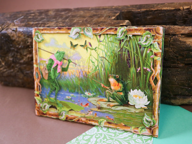Fishing frogs! Super luxurious victorian 3-D postcard with envelope