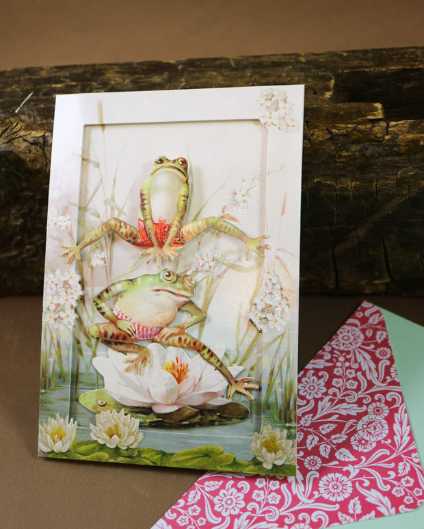 Athletic jump frogs! Super luxurious victorian 3D postcard with envelope