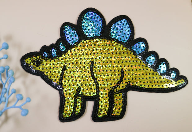 Big turquoise stegosaurus sequin iron on patch