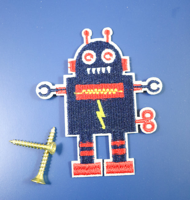 Buff blue robot iron on patch