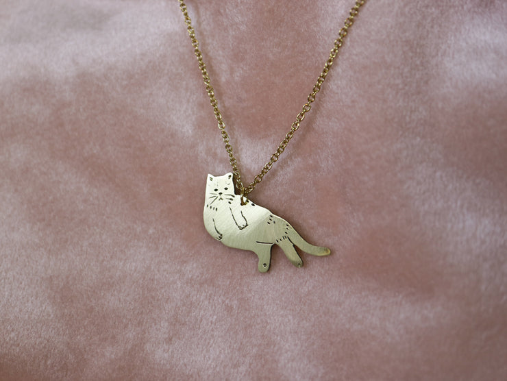 Lazy cat hand sawed & engraved brass necklace