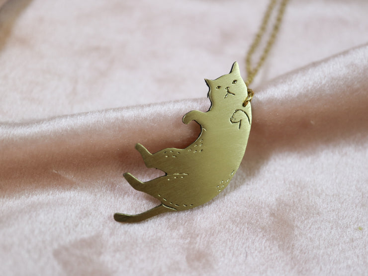 Displeased cat hand sawed & engraved brass necklace