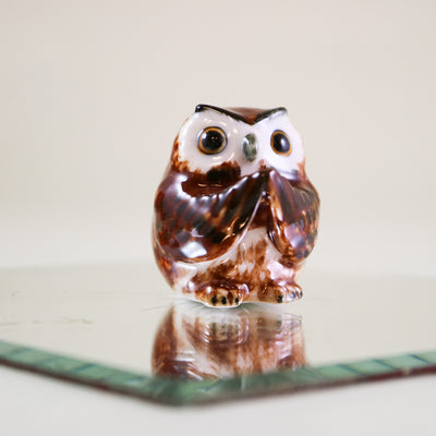Miniature brown owl incense holder figurine