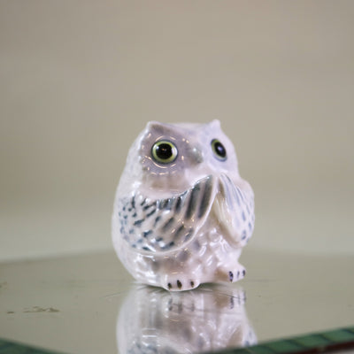 Miniature white owl incense holder figurine