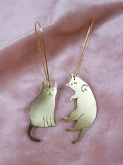 Displeased with u big cats sawed & engraved brass earrings
