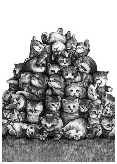 Kitty pile A3 print by Mikel Nilsson, signed and limited