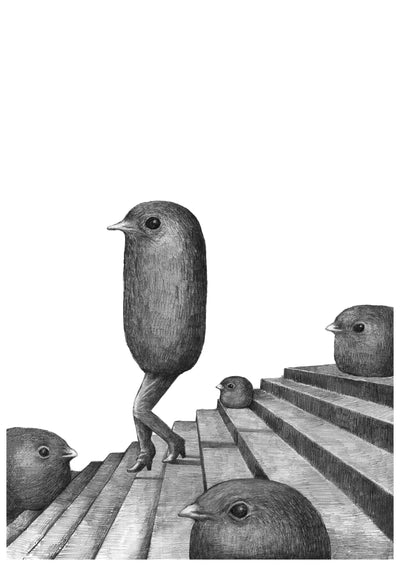 Stair birds A4 print by Mikel Nilsson, signed and limited