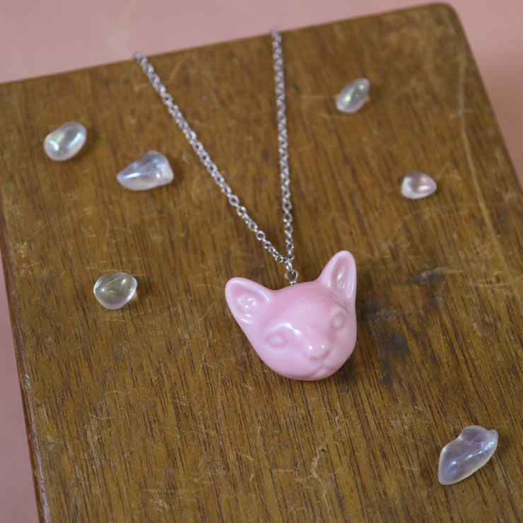 Pink cat porcelaine necklace