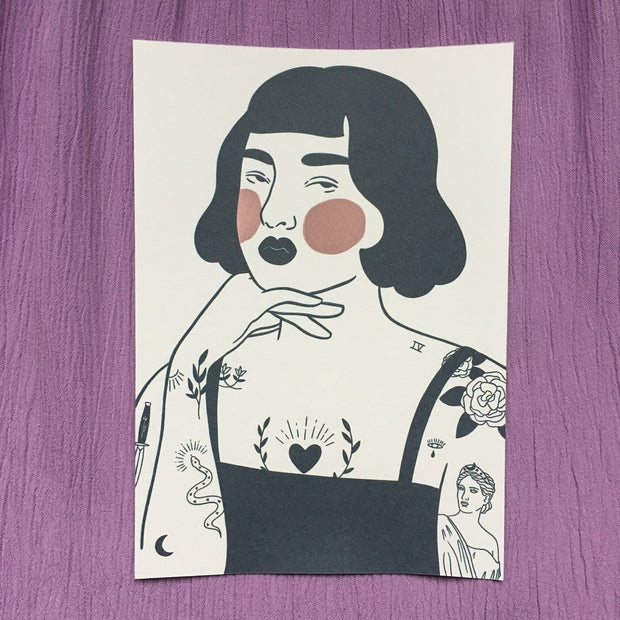 Tattooed art print by Ida Alvarsson
