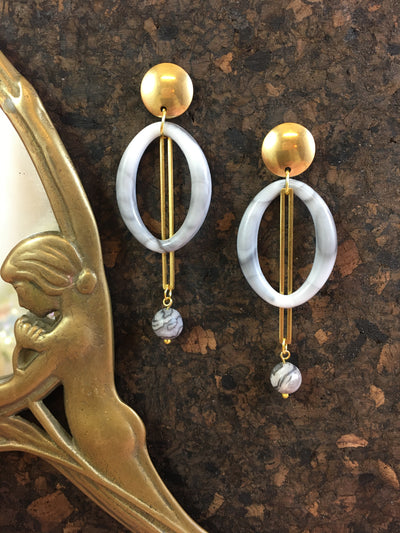 Marble pendulum earrings