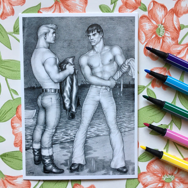 Tom of Finland postcard drippin'