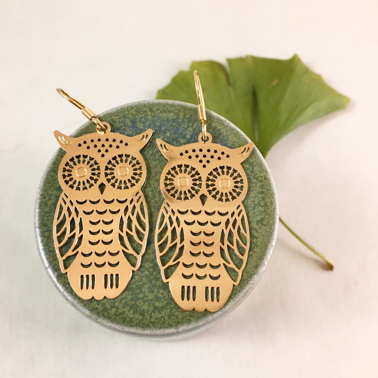 Golden hoot earrings