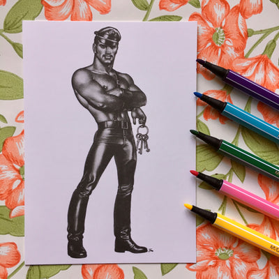 Tom of Finland postcard key holder