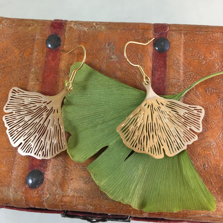 Small golden ginkgo earrings