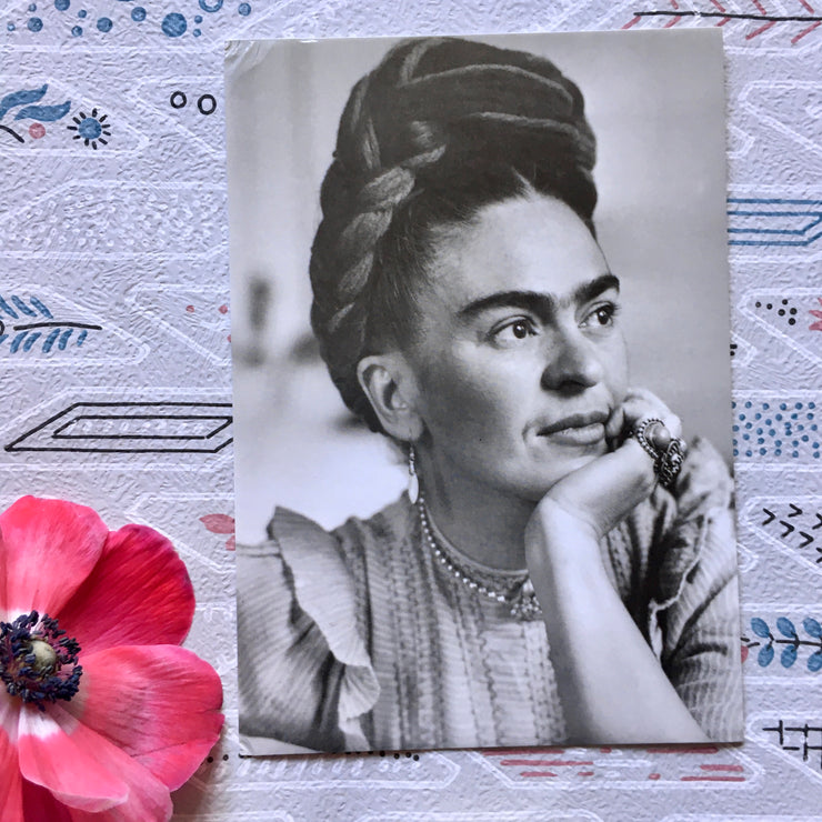 Frida black and white postcard