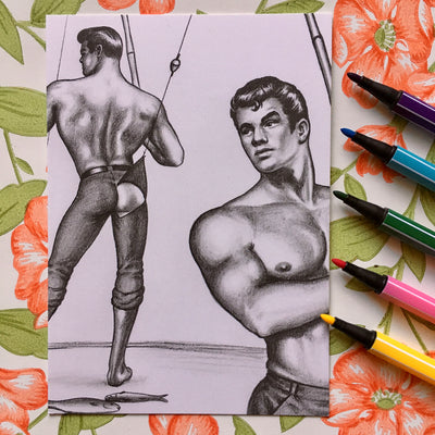 Tom of Finland mini print/card gone fishing