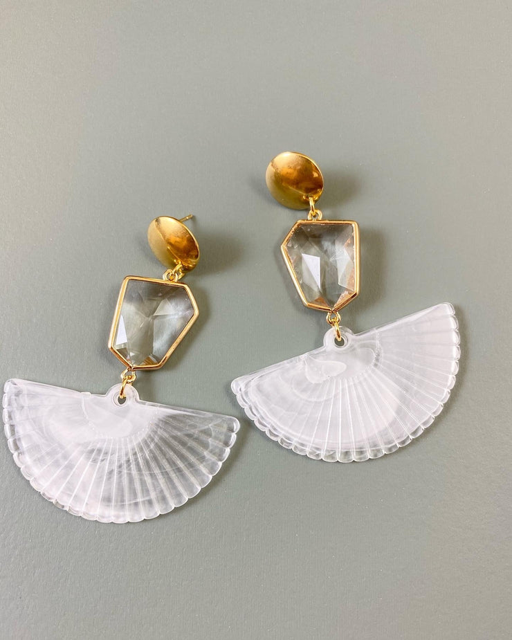 White fan earrings (Limited edition)