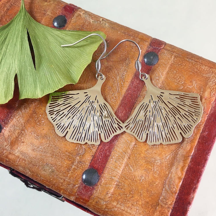 Small silver ginkgo earrings