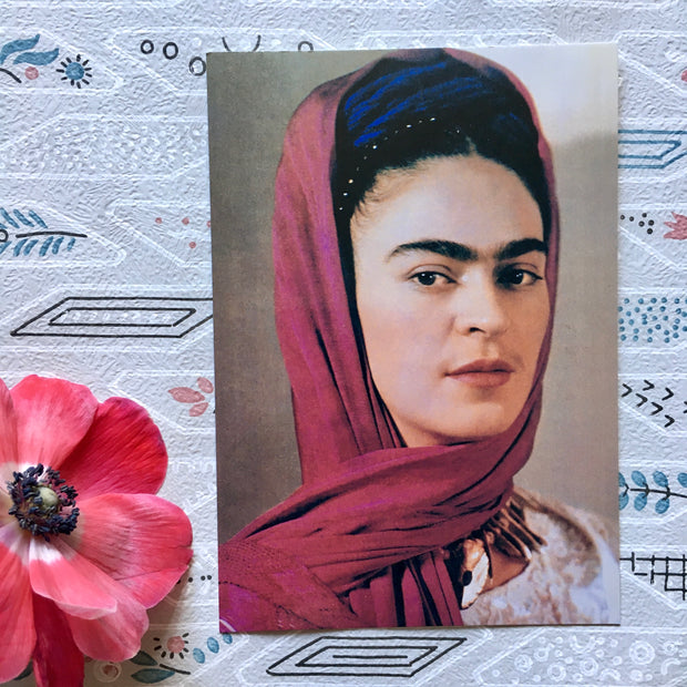 Frida wrapped up mini postcard