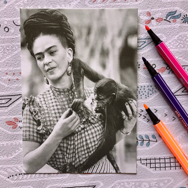 Frida with monkey postcard