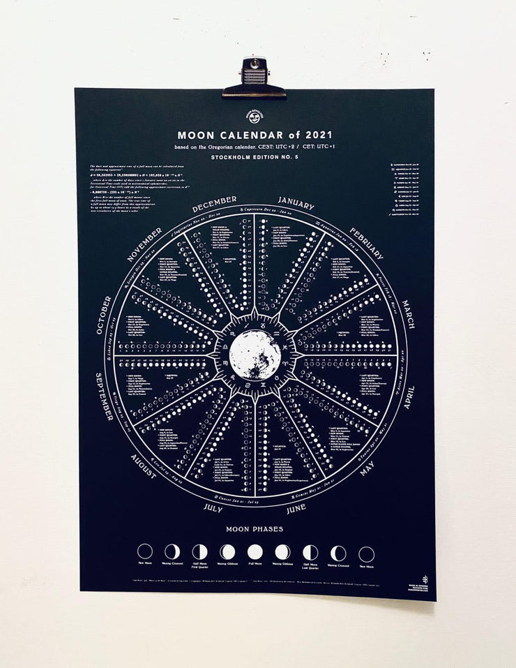 Moon Calendar 2021 black A2 by Moon revolver