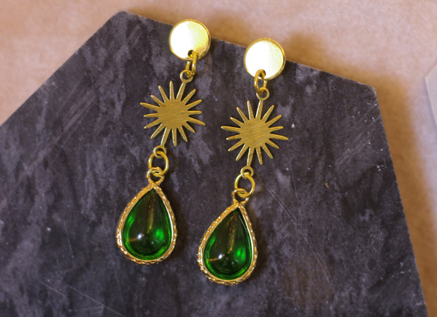 Nouveau green drop earrings (Limited edition)