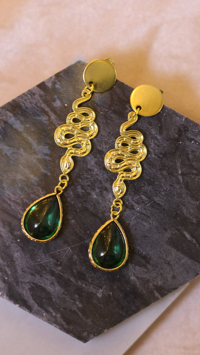 Nouveau snake drop green earrings (Limited edition)
