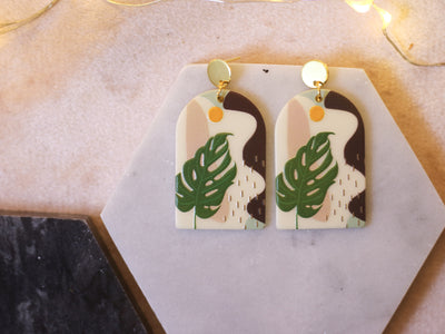 70's arch monstera adansonii earrings