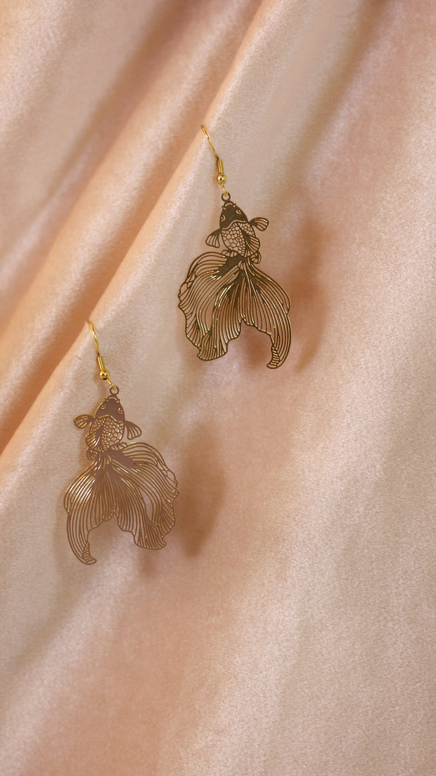 Golden goldfish earrings