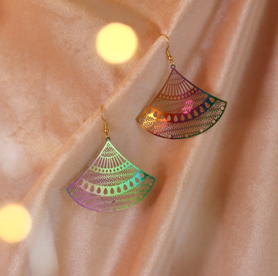Rainbow fan earrings