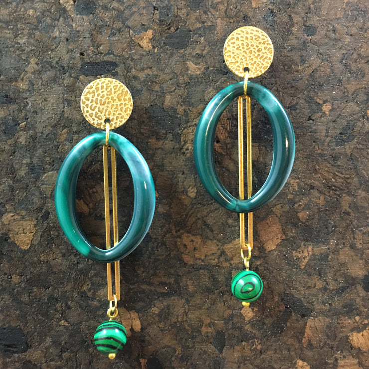 Malachite pendulum earrings
