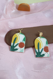 70's arch strange plant earrings