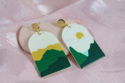 70's arch green sunrise missmatch earrings