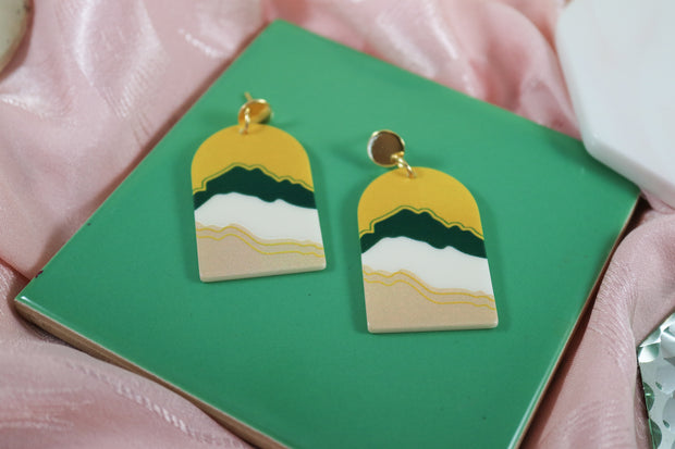 70's arch eclectic landscape earrings