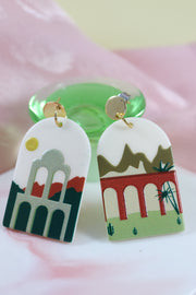 70's arch architecture mismatch earrings