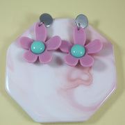 Flower POWER pop earrings purple/mint