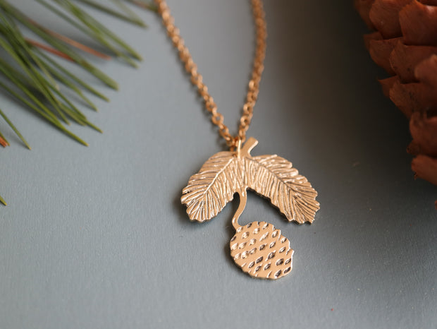 Pine cone hand sawed & engraved brass necklace