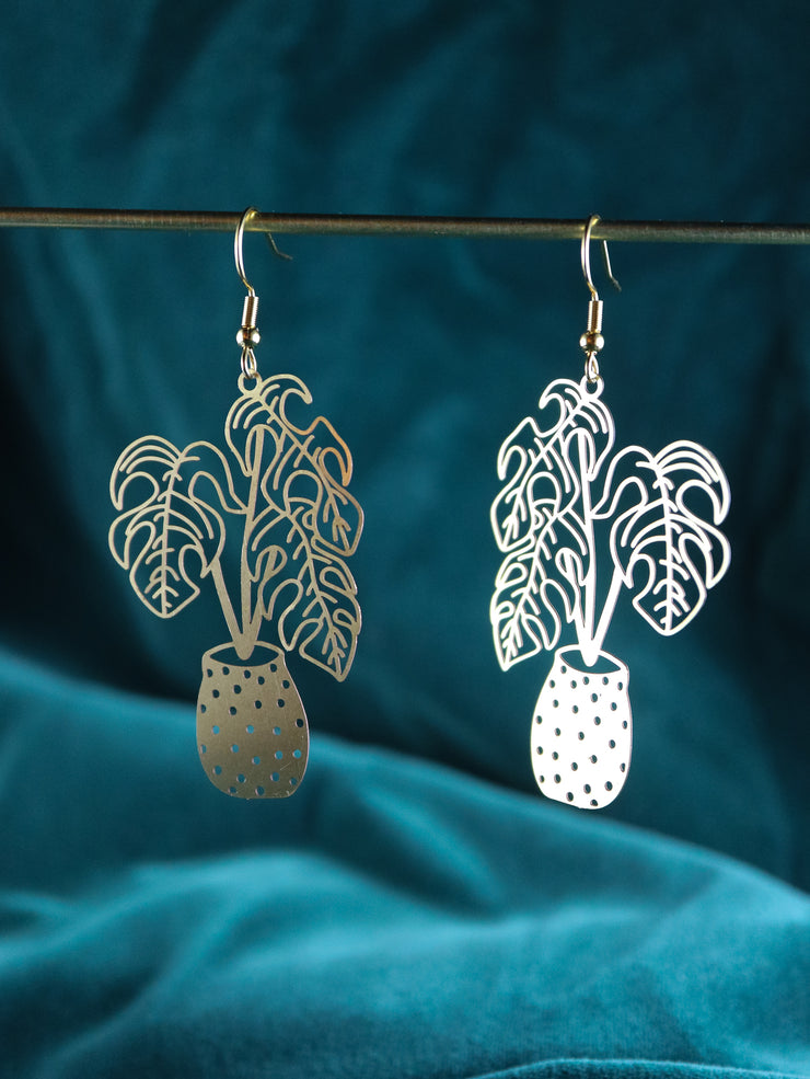 Potted monstera earrings (Limited edition)
