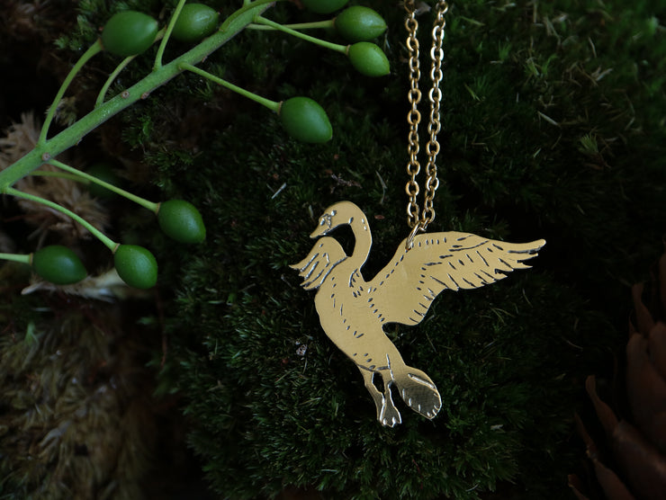 Majestic swan hand sawed & engraved brass necklace