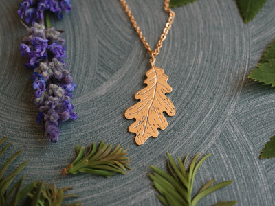 Oak leaf hand sawed & engraved brass necklace